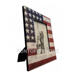 Cornice Portafoto 10x15 cm. da Tavolo in Ecopelle Bandiera USA