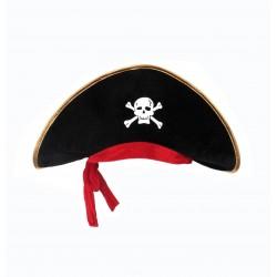 Grande cappello da pirata in velluto con bandana rossa - Nero