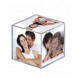 Cubo portafoto 9x9x9 cm in acrilico per 6 foto 8,5x8,5 cm.