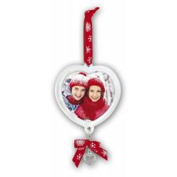 Decorazione albero di Natale a forma di cuore con foto in plexiglass 7x6,5 cm.