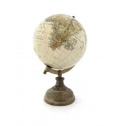 Mappamondo girevole con base in legno h.27,5x18x15,5 cm - Globo terrestre divertente ed educativo - 1 pz.