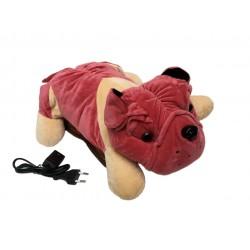 Borsa acqua calda elettrica con peluche cane Bulldog in morbido tessuto con tasche scaldamani - Ottima idea regalo
