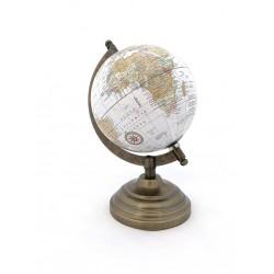 Mappamondo girevole in ottone e legno - Globo terrestre divertente ed educativo - 1 pz.