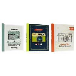 Album Fotografico Camera Vintage con 40 Pagine adesive Adatto per Foto di Vari Formati - Varie grafiche - 1 pz.