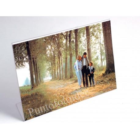 Cornici portafoto espositori in plexiglass da tavolo - Orizzontale - Varie misure - Pacco 12 pz.