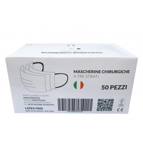 50 Mascherine CHIRURGICHE ANALERGICHE Monouso FILTRANTI a 3 Strati LATEX FREE