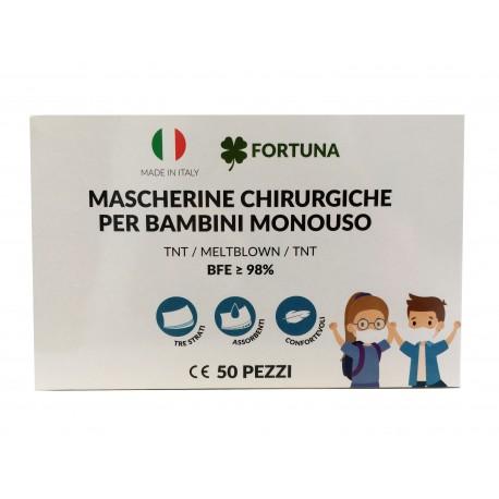 50 MASCHERINE CHIRURGICHE ANALLERGICHE per Bambini Monouso FILTRANTI a 3 Strati