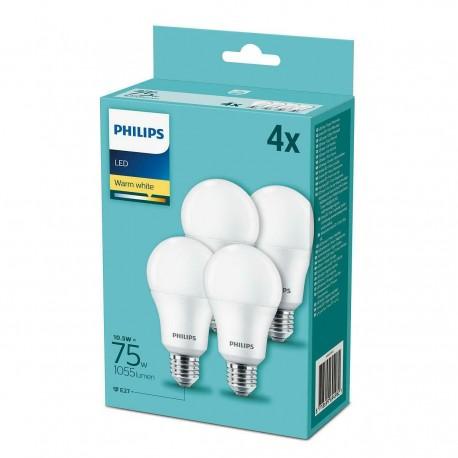 Kit 4 Lampadine Led Philips 10.5w - 75w E27 Luce bianca calda 2700°K