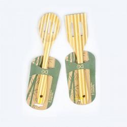 Utensili da cucina in legno di bamboo - Set di 2 accessori antigraffio (cucchiaio, spatola) - Bambù 100% Ecologico e Naturale