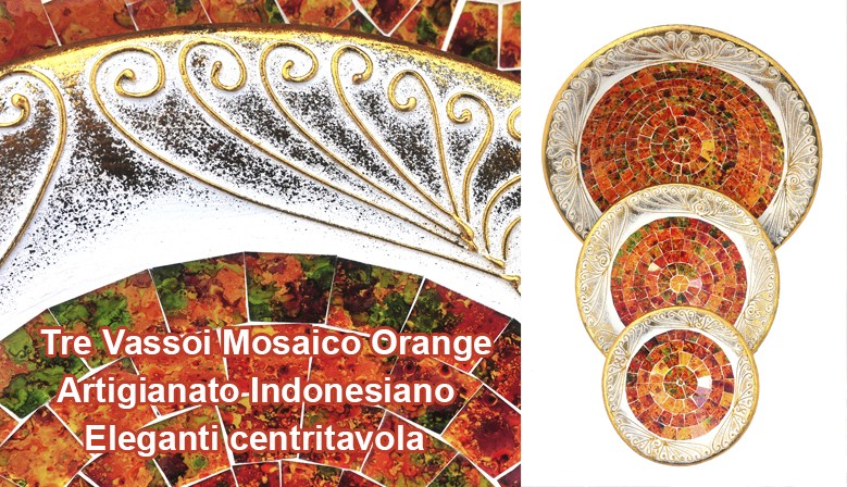 Trittico Vassoi Mosaico Orange